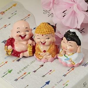 아기 삼존불 세트(석가모니 관세음보살 포대화상)/ 차량용,법보시