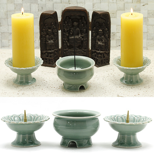 [기획상품]촛대 향로 세트/불교용품,제사용품,향,향꽂이,촛대
