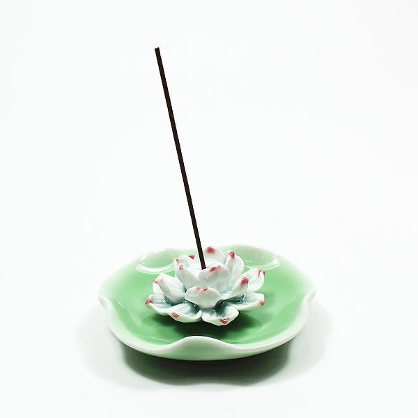 도자기 연꽃 향꽂이 (소) - 연두